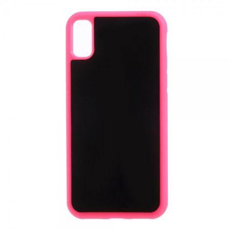 iPhone XS / X Handy Hülle - Anti-Gravity Case aus Plastik - klebt an glatten Oberflächen - rosa