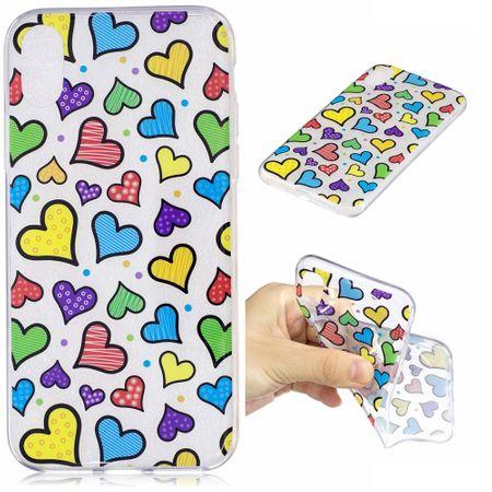 iPhone XS / X Handy Hülle - TPU Softcase - farbige Herzen