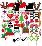 50-tlg. Photo Booth Accessoires Weihnachten - Fotorequisiten für eine lustige Weihnachtsparty