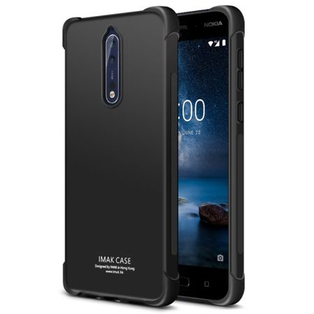 Imak - Nokia 8 Hülle - Anti-Shock Case aus TPU Plastik - inkl. Schutzfolie - schwarz