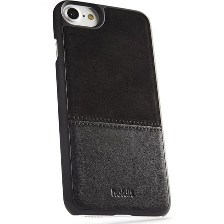Holdit - iPhone 8 / 7 / 6S / 6 Handyhülle - Premium Echtleder Designer Case Kåsa - mit magnetischer Rückseite - schwarz