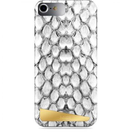 Holdit - iPhone 8 / 7 / 6S / 6 Handyhülle - Designer Case Långasand Snake - mit magnetischer Rückseite - weiss