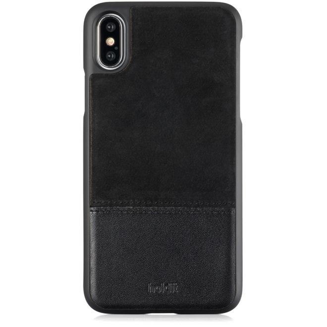 Holdit Holdit - iPhone XS / X Handyhülle - Premium Echtleder Designer Case Kåsa - mit magnetischer Rückseite - schwarz