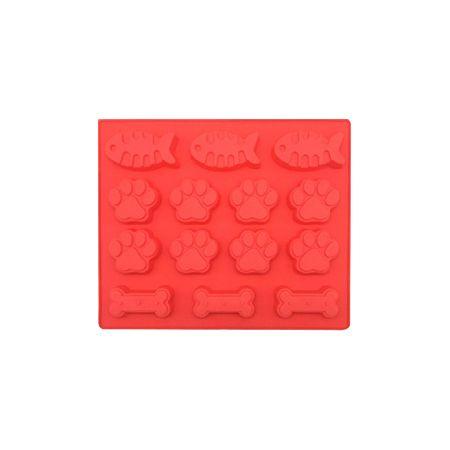 Fussabdruck, Knochen und Fischskelett Ice Cube - Eiswürfel Form aus Silikon - rot