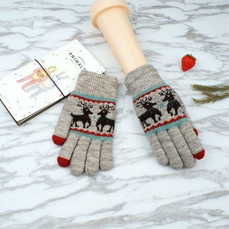 Gestrickte Winter Touchscreen Handschuhe - Hirsch - grau