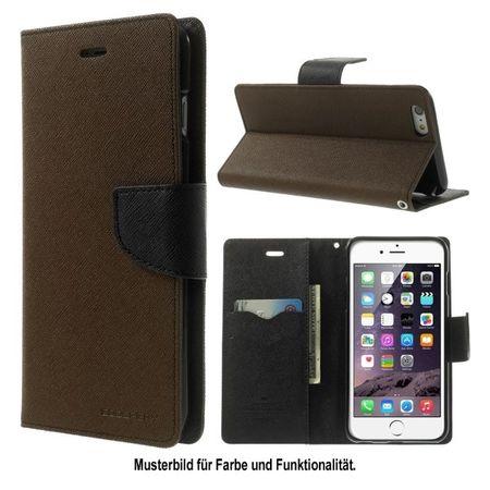 Mercury Goospery - Samsung Galaxy Mega 6.3 Hülle - Handy Bookcover - Fancy Diary Series - braun/schwarz