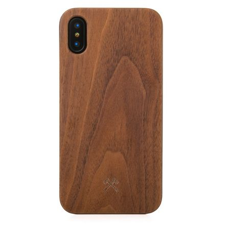 WOODCESSORIES - iPhone XS / X Handyhülle - Echtholz Backcover - EcoCase Claude - Walnuss/Schwarz