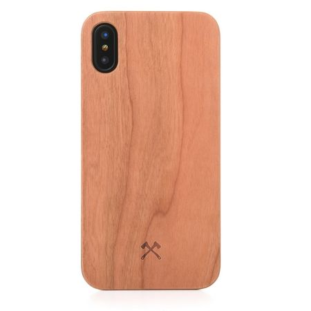 WOODCESSORIES - iPhone XS / X Handyhülle - Echtholz Backcover - EcoCase Caspar - Kirschfarben/Schwarz