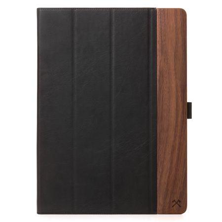 WOODCESSORIES - iPad Pro 12.9 Hülle (2017 / 2015) - Echtholz Case - EcoFlip - Walnuss/Schwarz