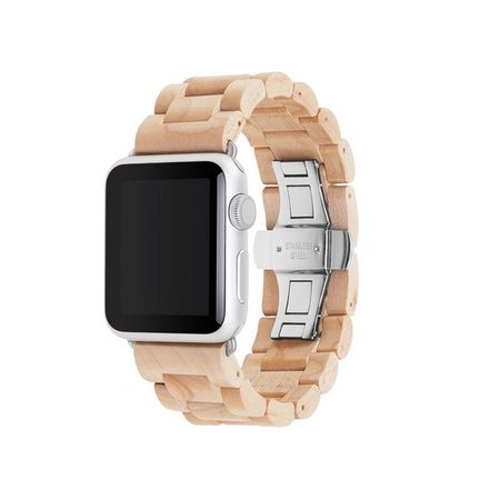 WOODCESSORIES - Apple Watch Armband (38mm) - Echtholz - EcoStrap - Ahorn/Silber
