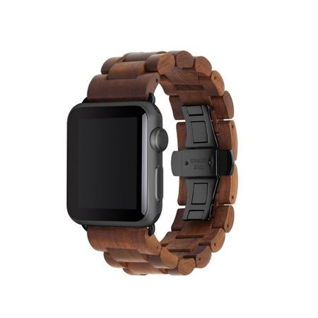 WOODCESSORIES - Apple Watch Armband (42mm) - Echtholz - EcoStrap - Walnuss/Schwarz