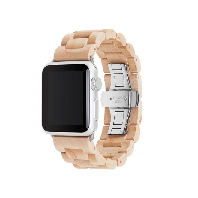 WOODCESSORIES WOODCESSORIES - Apple Watch Armband (42mm) - Echtholz - EcoStrap - Ahorn/Silber