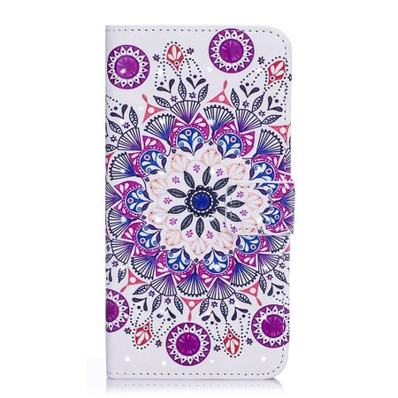 iPhone XS / X Handyhülle - Leder Bookcover - mit Standfunktion - Mandala Muster