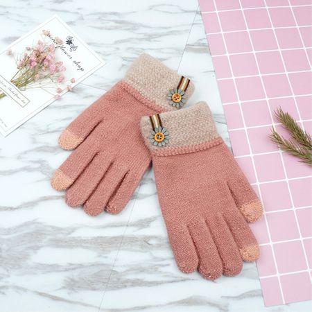 Warme Winter Handschuhe mit Touchscreen Funktion - dunkelpink
