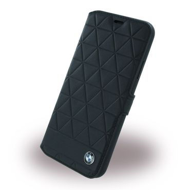 BMW - iPhone X Handyhülle - Bookcover aus Leder - Signature Hexagon Series - schwarz