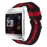 Fitbit Ionic Nylon Armband - vertikales Streifenmuster - 22mm breit - schwarz/rot