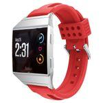 Fitbit Ionic Armband - aus sanftem Silikon - inklusive Metall Verbindungseinheit - 22mm Breit - rot