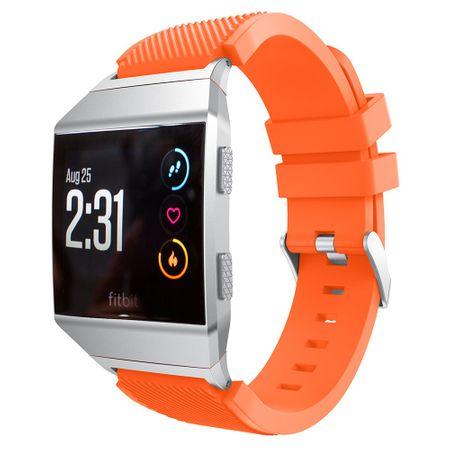 Samsung Gear S3 Frontier / Classic Armband - aus sanftem Silikon - Köpermusterung - orange