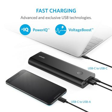 Anker - Power Bank - 20100 mAh - PowerCore+ mit USB-C - schwarz