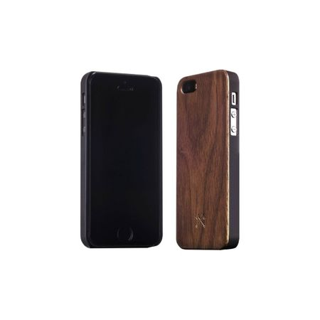 WOODCESSORIES - iPhone SE / 5S / 5 Hülle - Echtholz Backcover - EcoCase - Walnuss/Schwarz