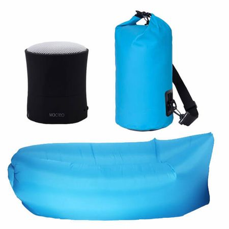 3er Set Sommer-Bundle - Bluetooth Lautsprecher / AirLounge / Wasserdichter PackSack - Blue Edition