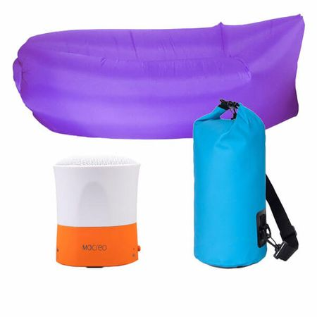 3er Set Sommer-Bundle - Bluetooth Lautsprecher / AirLounge / Wasserdichter PackSack - Color Edition
