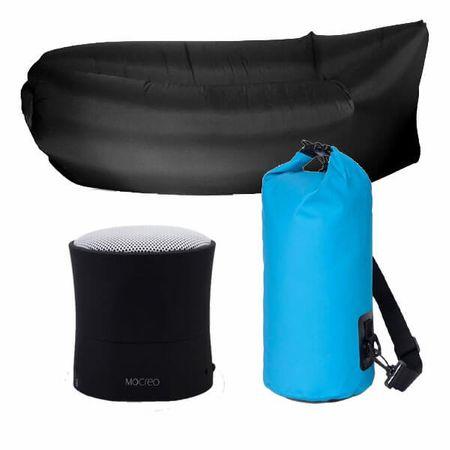 3er Set Sommer-Bundle - Bluetooth Lautsprecher / AirLounge / Wasserdichter PackSack - Blue / Black Edition