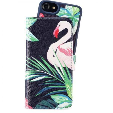 Holdit - iPhone 8 / 7 / 6S / 6 Hülle - Designer Case Flamingo Hibiskus - mit Magnet und abnehmbarem Case - mehrfarbig
