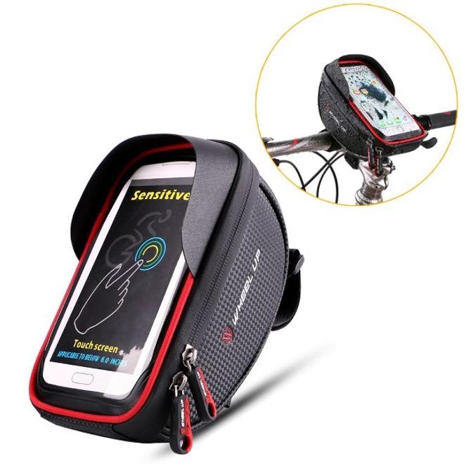 Wheel Up Wheel Up - Nylon Fahrrad Halterung - wasserdicht und touchfähig - mit Storage Bag - für Handys bis 6 Zoll - rot