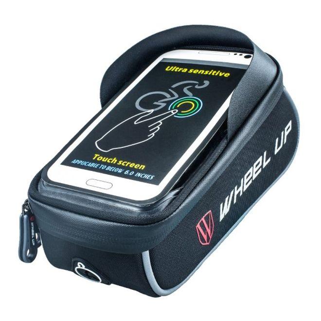 Wheel Up Wheel Up - Nylon Fahrrad Halterung - wasserdicht und touchfähig - mit kleinem Storage Bag - für Handys bis 6 Zoll - schwarz/grau