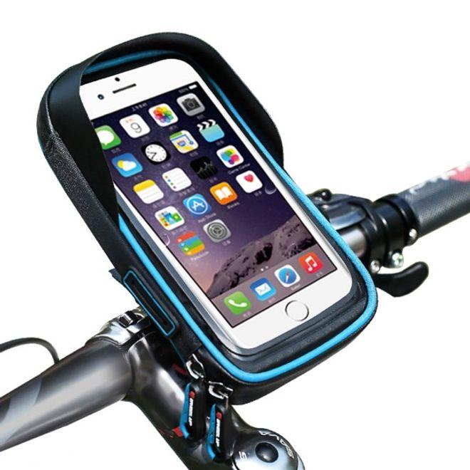 Wheel Up Wheel Up - Nylon Fahrrad Halterung - wasserdicht und touchfähig - mit Mini Storage Bag - für Handys bis 6 Zoll - schwarz/blau