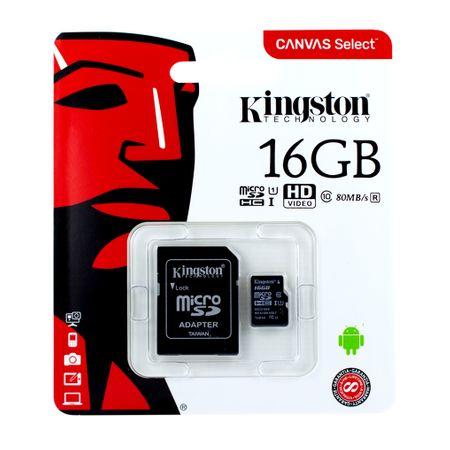 Kingston 16 GB MicroSDHC Speicherkarte mit SD Adapter Klasse 10