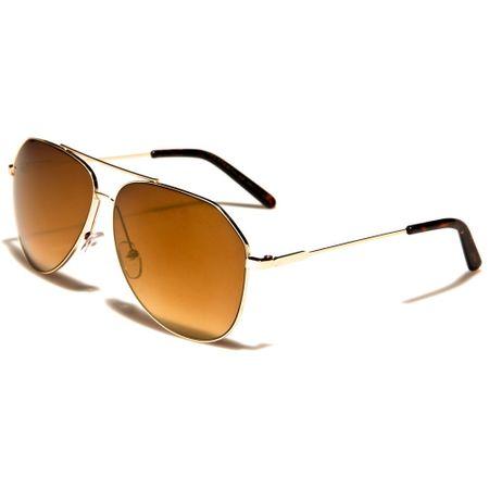 Air Force - Herren / Damen Sonnenbrille Pilotenbrille - Cutted Oval - braun/gold