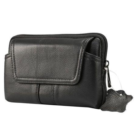 Universelle Handytasche in Echtleder mit Gürtelschlaufe - für Handys bis 6 Zoll - schwarz