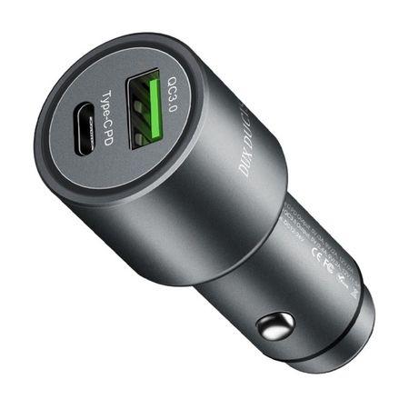 Dux Ducis - Car Charger mit USB und Typ-C Power Delivery Anschluss - QC3.0 - schwarz