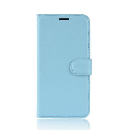 Google Pixel 3 XL Handy Hülle - Litchi Leder Bookcover Series - blau