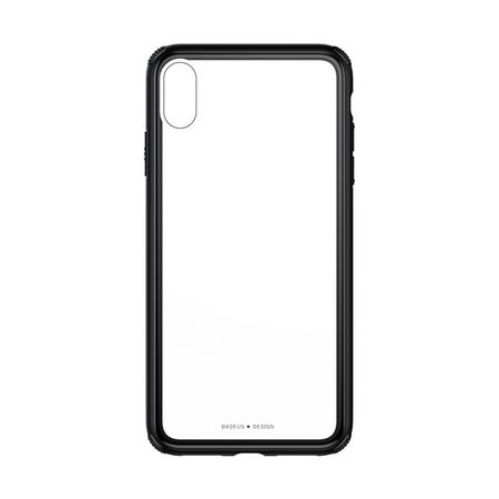 Baseus - iPhone XS Hülle - mit transparenter Glas Rückseite - See-Through Series - schwarz