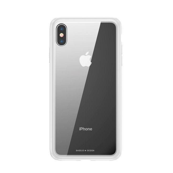 Baseus Baseus - iPhone XS Hülle - mit transparenter Glas Rückseite - See-Through Series - weiss