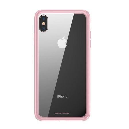 Baseus - iPhone XS Max Hülle - mit transparenter Glas Rückseite - See-Through Series - pink