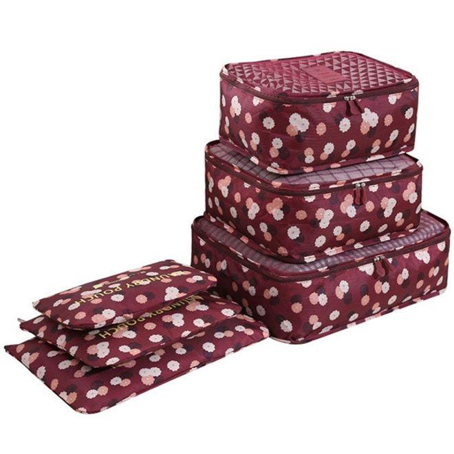 MU Style 6-teiliges Reisetaschen-Packsystem - Koffer Organizer Set Blumen Edition - bordeauxrot
