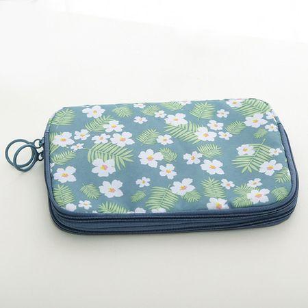 Wasserdichter Reiseorganizer – Tasche für Reiseunterlagen – blau mit Blumenmuster