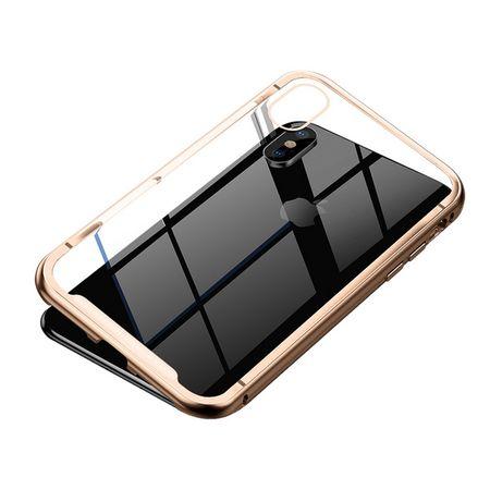 Baseus - iPhone XS Max Handyhülle - magnetisch, aus Metall und Glas - gold