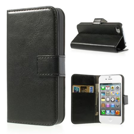 iPhone 4/4S Hülle - Crazy Horse Leder Bookcover - schwarz
