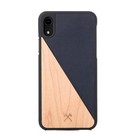 WOODCESSORIES - iPhone XR Handyhülle - Ahornholz/Leder Backcover - EcoSplit - Marineblau