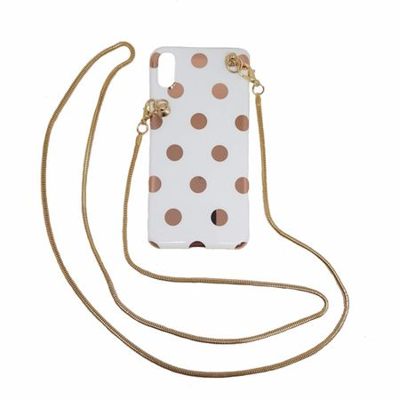 MU Style - iPhone XS / X Handykette - Necklace Hülle zum Umhängen - weiss/gold
