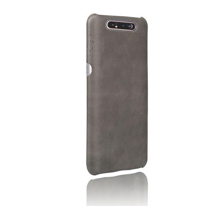 MU Classic Samsung Galaxy A80 Hülle - Crazy Horse Plastik Hardcase - grau
