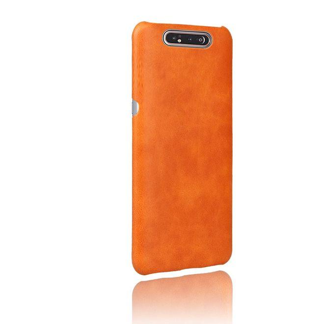 MU Classic Samsung Galaxy A80 Hülle - Crazy Horse Plastik Hardcase - orange