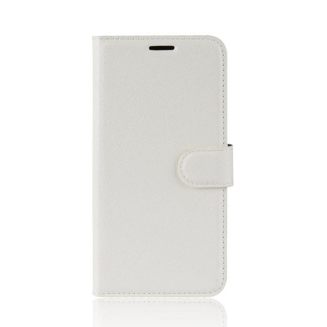 MU Classic Samsung Galaxy A20e Handy Hülle - Litchi Leder Bookcover Series - weiss