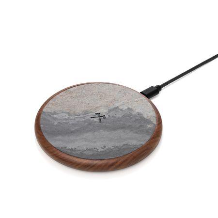 WOODCESSORIES - Qi Induktionsladegerät Ladestation EcoPad Stone FSC Zertifiziert / Leder 10W (ECO287) - grau