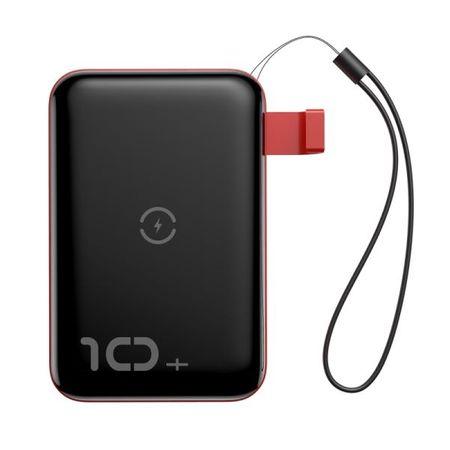 Baseus - Power Bank - 10000mAh - Qi Wireless Charging - Mini S Series - schwarz/rot